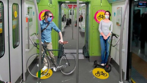 bicycles and skateboards on the subways